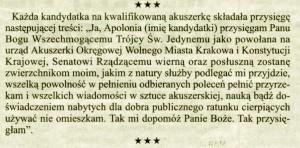 Przysięga akuszerki - rok 1833