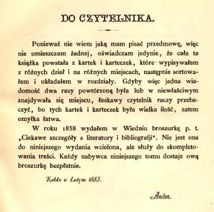 """Antoni Sozański - """"Ciekawe szczegóły z literatury i bibliografii tudzież z innych umiejętności"""" - rok 1884"""