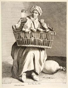 uliczna handlarka gorzałą - XVIII wiek