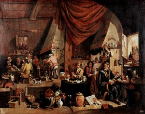Alchemik w laboratorium - koniec XVI wieku