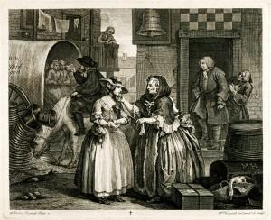 Sprzedaż dziewcząt do burdelu. William Hogarth - 1732.