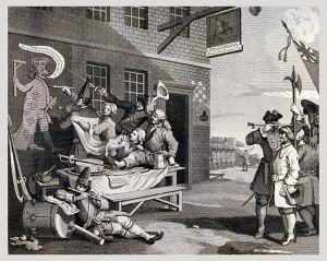 Werbunek i mierzenie-rekrutów -T Cook wg. W Hogartha - 1799
