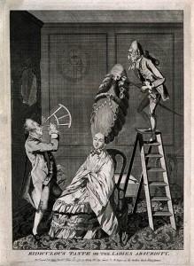 Oficer marynarki asystuje przy wkładaniu peruki - 1771