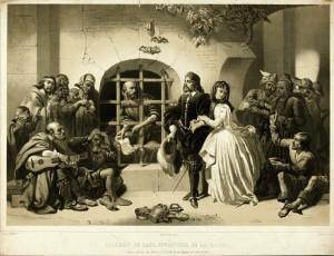 Salomon de Caus uwięziony w Bicêtre (ryc ok. 1845)